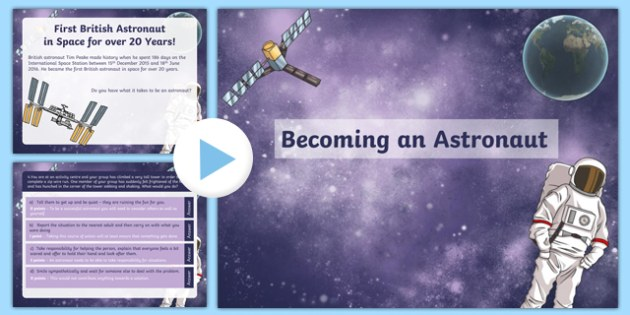 Tim Peake Becoming an Astronaut PowerPoint - quiz, tim peake, becoming, astronaut, powerpoint