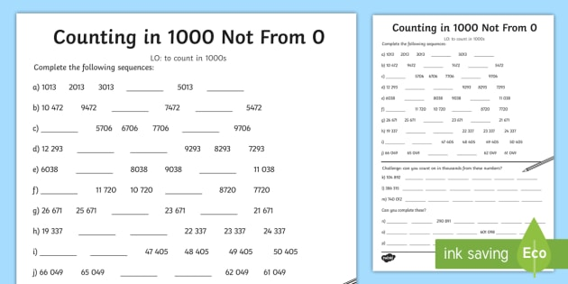 Counting in 1000 Not From 0 Worksheet - counting, 1000, worksheet
