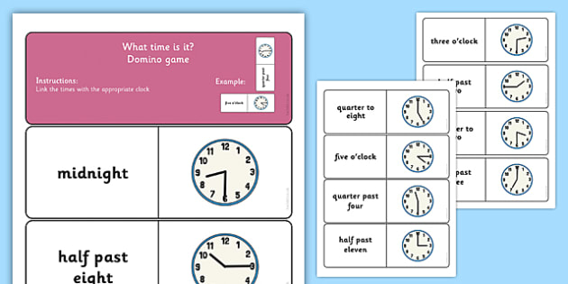 Telling the Time Dominoes - telling the time, dominoes, activity, game, domino, tell, time