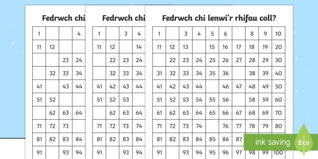 Sgwâr Rhif Rhifau Goll y Gaeaf Taflen Waith - Y Gaeaf (Winter), Gaeaf, Arddangosfeydd, Tymhorau, Cyfnod Sylfaen. Mathemateg, rhifau goll,Welsh