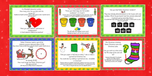 Christmas Maths Challenge Cards Romanian Translation - romanian, christmas, maths, challenge, cards