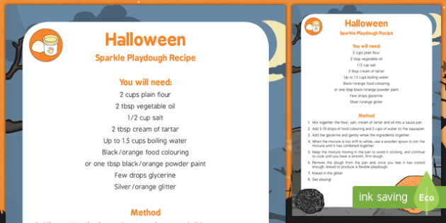 Halloween Sparkle Playdough Recipe