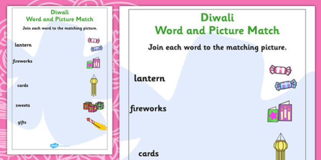 Diwali Word and Picture Matching Worksheets - match, festivals