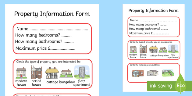 Estate Agents Property Form - Estate Agents Role Play Pack, form, estate agents, for sale, to let, house, properties, apartment, bungalow, cottage, semi-detached, tarraced, role play, display, poster