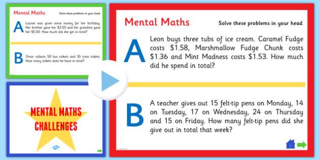 Mental Maths Challenge PowerPoint - australia, numeracy, KS2 maths, powerpoint