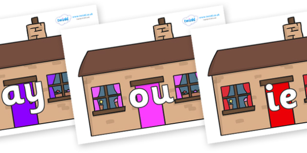 Phase 5 Phonemes on Houses - Phonemes, phoneme, Phase 5, Phase five, Foundation, Literacy, Letters and Sounds, DfES, display