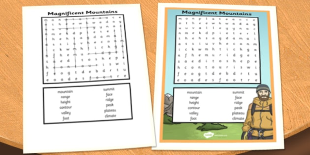 Magnificent Mountains Wordsearch - magnificent, mountains, wordsearch