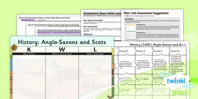 PlanIt - History LKS2 - Anglo-Saxons and Scots Unit Assessment Pack - assessment, record, data, baseline, nation, pack, objectives, criteria, success, national, curriculum, Britian, change, nations,
