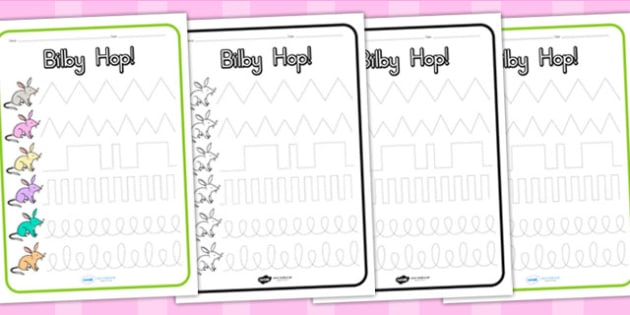 Bilby Hop Pencil Control Worksheets - easter bilby, motor skills