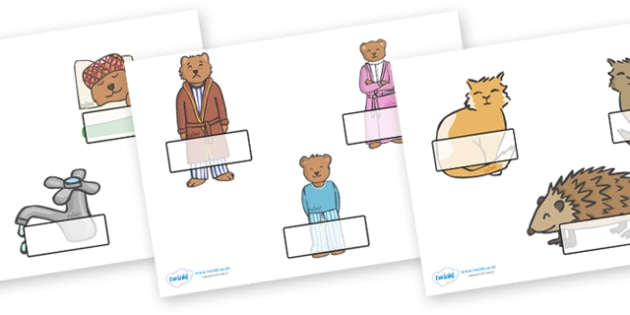 Peace at Last Self Registration - Peace at Last, resources,  Jill Murphy, Large family, Mr Bear, Mrs Bear, Baby Bear, sleep, story, story book, story book resources, story sequencing, story resources, self registration, register, attendance