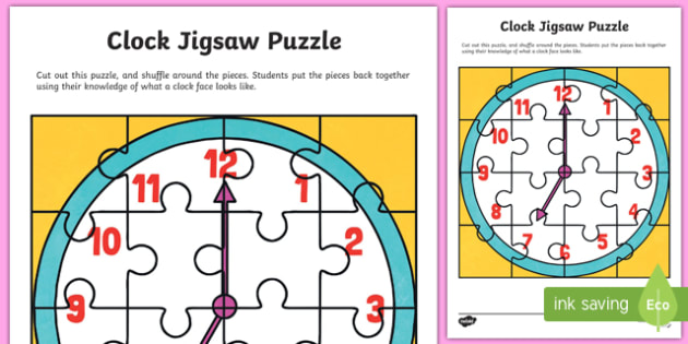 Clock Jigsaw Puzzle Activity