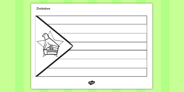 Zimbabwe A4 Colouring Flag -africa, geography, ks2, ks1, culture, topic, information, display,