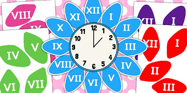 Roman Numerals Clock Flower Labels - roman numerals, clock, flower, labels