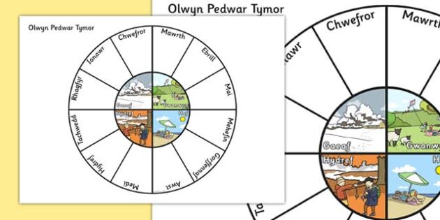 Olwyn Pedwar Tymor - welsh, cymraeg, pedwar tymor, tymhorau, olwyn