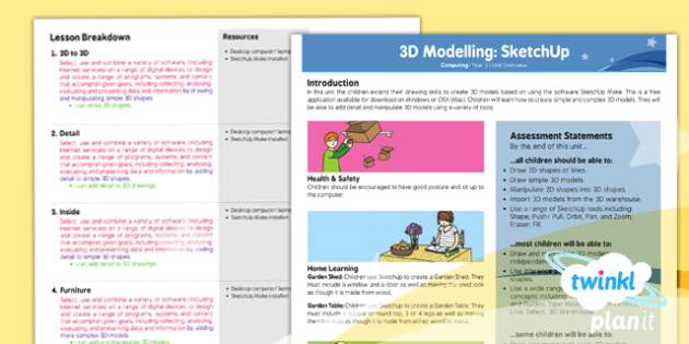PlanIt - Computing Year 5 - 3D Modelling SketchUp Planning Overview