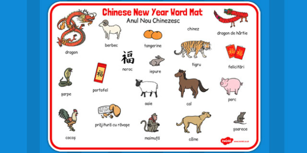 Anul Nou Chinezesc - plansa de cuvinte, Romanian