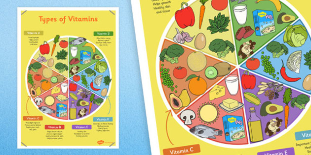 Types of Vitamins Poster - vitamins, poster, display, types