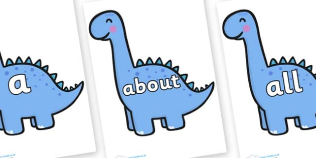100 High Frequency Words on Diplodocus Dinosaurs - High frequency words, hfw, DfES Letters and Sounds, Letters and Sounds, display words
