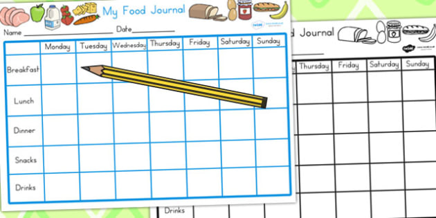 Healthy Eating My Food Journal - food diary, diary, health, food