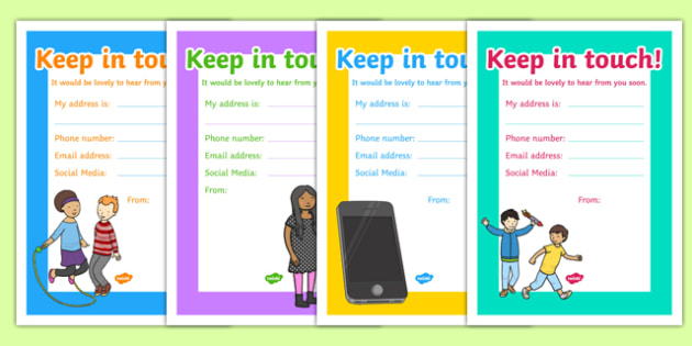 Keep in Touch Cards Cards - Older Children