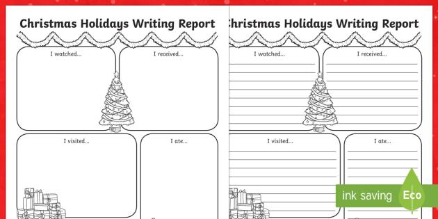 Christmas Holiday Report Writing Frame - christmas, christmas holiday, writing report, writing, report, holiday report, christmas report, writing activities