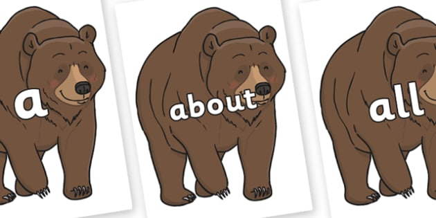 100 High Frequency Words on Bear - High frequency words, hfw, DfES Letters and Sounds, Letters and Sounds, display words