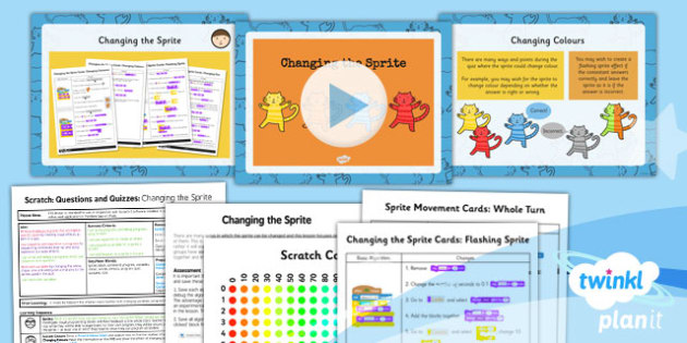 PlanIt Computing Y4 Scratch Questions Quizzes Lesson 3 Changing Sprite Pack
