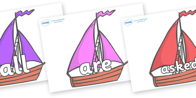 Tricky Words on Sailing Boats to Support Teaching on Where the Wild Things Are - Tricky words, DfES Letters and Sounds, Letters and sounds, display, words