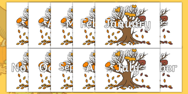 Months of the Year on Autumn Trees - Months of the Year, Months poster, Months display, display, poster, frieze, Months, month, January, February, March, April, May, June, July, August, September
