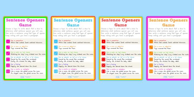 Sentence Openers Dice Activity - sentences, openers, literacy