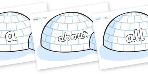 100 High Frequency Words on Igloos - High frequency words, hfw, DfES Letters and Sounds, Letters and Sounds, display words