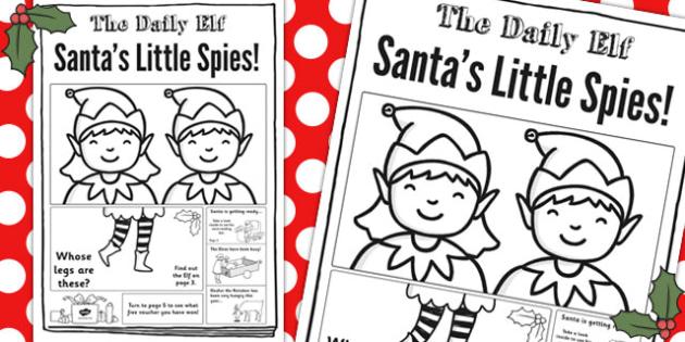 The Daily Elf Newspaper Writing Template - christmas, festivities, news