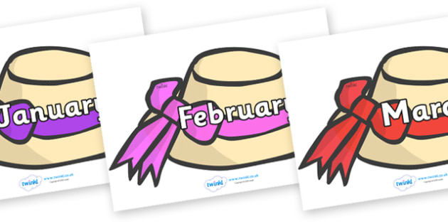 Months of the Year on Summer Hats - Months of the Year, Months poster, Months display, display, poster, frieze, Months, month, January, February, March, April, May, June, July, August, September