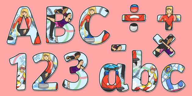 Winter Olympics Themed Display Lettering - winter, olympics