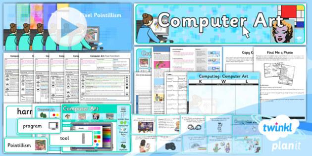 PlanIt - Computing Year 2 - Computer Art Unit Pack - computer art, digital art, artists, painters, recreate, artwork, techniques, shape, colour, size, lines
