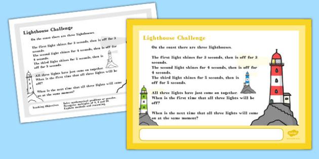 A4 Lighthouse Maths Challenge Poster - challenge poster, maths