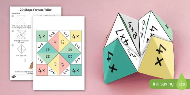 4 Times Table Fortune Teller - 4 times table, times table, fortune teller, activity, craft, fold