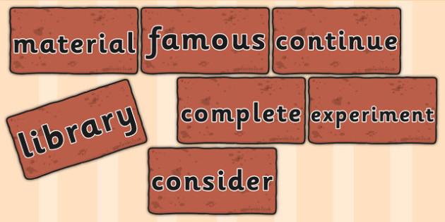 Word Wall Bricks - visual aid, literacy, words wall, sentences