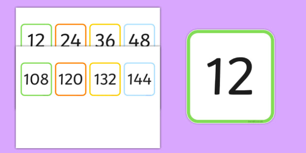 Multiples of 12 Flash Cards - multiples, counting, times table, count, multiplication, division, flash cards, 12