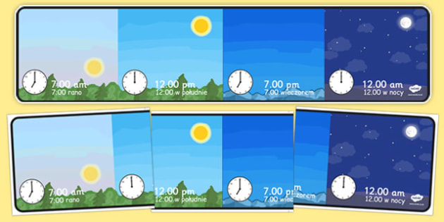 Day and Night Time Display Polish Translation - polish, day, night, display, class display