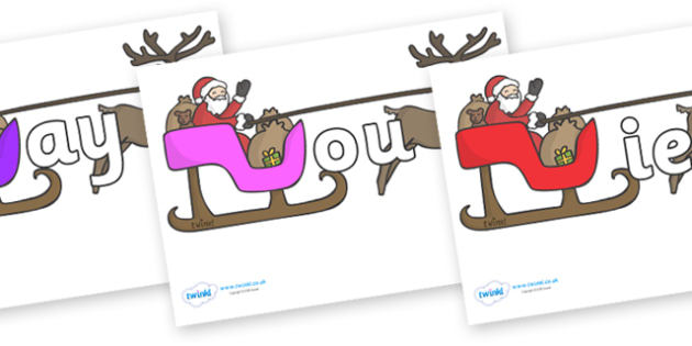 Phase 5 Phonemes on Sleighs - Phonemes, phoneme, Phase 5, Phase five, Foundation, Literacy, Letters and Sounds, DfES, display