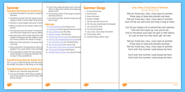 Elderly Care Summer Song Words - Elderly, Reminiscence, Care Homes, Summer