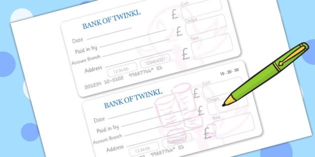 Bank Role Play Paying In Slips - Bank Role Play, banking, bank resources, money, euros, pounds, cheque book, till, cash, bank manager, cash mashine, role play, display, poster