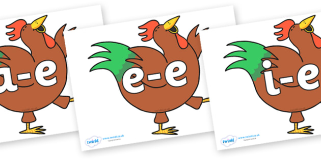Modifying E Letters on Hullabaloo Rooster to Support Teaching on Farmyard Hullabaloo - Modifying E, letters, modify, Phase 5, Phase five, alternative spellings for phonemes, DfES letters and Sounds
