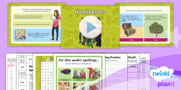 PlanIt Y3 Term 1A W6: Homophones and Near Homophones Spelling Pack