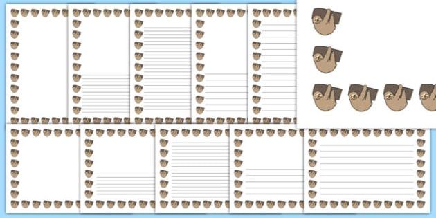 Sloth Page Borders - sloth, page borders, page, borders, animals, jungle