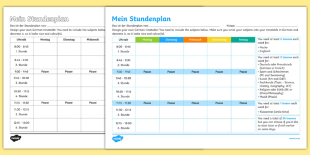 Design Your Own School Timetable Activity Sheet German , worksheet