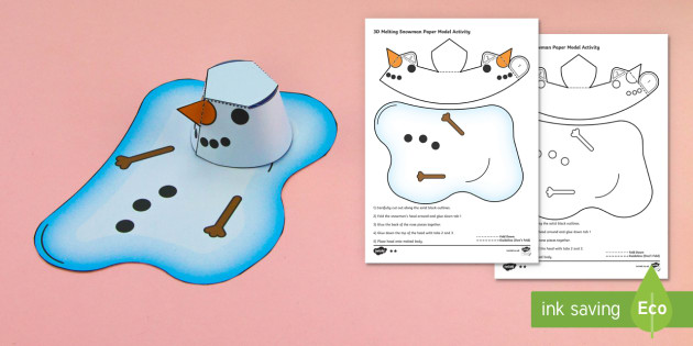 Simple 3D Melting Snowman Christmas Activity Paper Craft