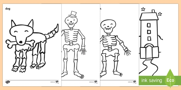 Colouring Sheets to Support Teaching on Funnybones - Funny Bones, Janet and Alan Ahlberg, story, story book, story book resources, story sequencing, story resources, skeleton, our body, all about me, Colouring Sheets, colouring, colouring activity,