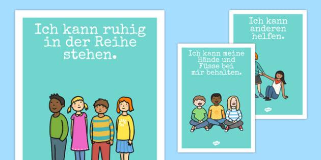 Good Manners Posters German - german, Good manners, good behaviour, class management, behaviour management, SEN, put away, tidy up, share, hands up, polite, indoor voice